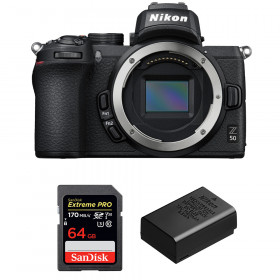 Nikon Z50 Body + SanDisk 64GB Extreme Pro UHS-I SDXC 170 MB/s + Nikon EN-EL25 | 2 Years Warranty