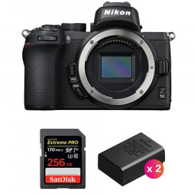 Nikon Z50 Nu + SanDisk 256GB Extreme Pro UHS-I SDXC 170 MB/s + 2 Nikon EN-EL25