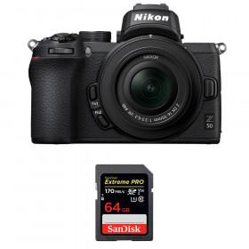 Nikon Z50 + 16-50mm f/3.5-6.3 VR + SanDisk 64GB Extreme Pro UHS-I SDXC 170 MB/s | 2 Years Warranty