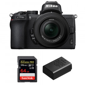 Nikon Z50 + 16-50mm f/3.5-6.3 VR + SanDisk 64GB Extreme Pro UHS-I SDXC 170 MB/s + Nikon EN-EL25
