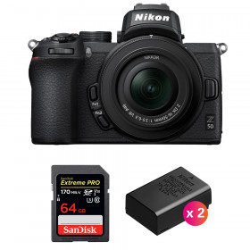 Nikon Z50 + 16-50mm f/3.5-6.3 VR + SanDisk 64GB Extreme Pro UHS-I SDXC 170 MB/s + 2 Nikon EN-EL25   2 años de garantía