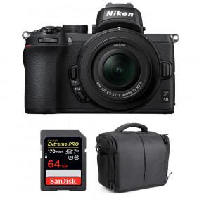 Nikon Z50 + 16-50mm f/3.5-6.3 VR + SanDisk 64GB Extreme Pro UHS-I SDXC 170 MB/s + Sac