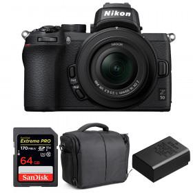 Nikon Z50 + 16-50mm f/3.5-6.3 VR + SanDisk 64GB Extreme Pro UHS-I SDXC 170 MB/s + Nikon EN-EL25 + Sac