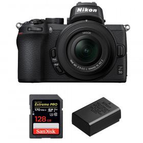 Nikon Z50 + 16-50mm f/3.5-6.3 VR + SanDisk 128GB Extreme Pro UHS-I SDXC 170 MB/s + Nikon EN-EL25