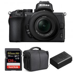 Nikon Z50 + 16-50mm f/3.5-6.3 VR + SanDisk 128GB Extreme Pro UHS-I SDXC 170 MB/s + Nikon EN-EL25 + Sac