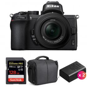 Nikon Z50 + 16-50mm f/3.5-6.3 VR + SanDisk 128GB Extreme Pro UHS-I SDXC 170 MB/s + 2 Nikon EN-EL25 + Sac