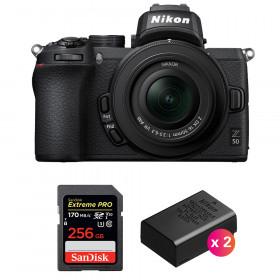Nikon Z50 + 16-50mm f/3.5-6.3 VR + SanDisk 256GB Extreme Pro UHS-I SDXC 170 MB/s + 2 Nikon EN-EL25