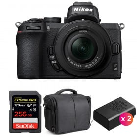 Nikon Z50 + 16-50mm f/3.5-6.3 VR + SanDisk 256GB Extreme Pro UHS-I SDXC 170 MB/s + 2 Nikon EN-EL25 + Bag | 2 Years Warranty