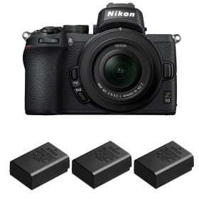 Nikon Z50 + 16-50mm f/3.5-6.3 VR + 3 Nikon EN-EL25