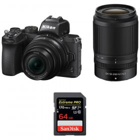 Nikon Z50 + 16-50mm + 50-250mm + SanDisk 64GB Extreme Pro UHS-I SDXC 170 MB/s | 2 Years Warranty