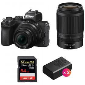 Nikon Z50 + 16-50mm + 50-250mm + SanDisk 64GB Extreme Pro UHS-I SDXC 170 MB/s + 2 Nikon EN-EL25
