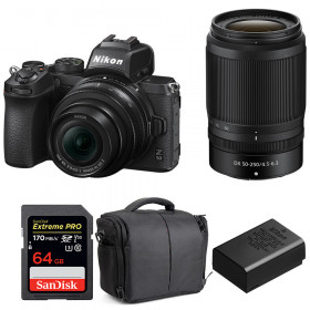 Nikon Z50 + 16-50mm + 50-250mm + SanDisk 64GB Extreme Pro UHS-I SDXC 170 MB/s + Nikon EN-EL25 + Bag | 2 Years Warranty