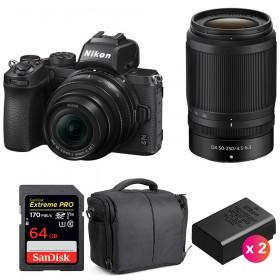 Nikon Z50 + 16-50mm + 50-250mm + SanDisk 64GB Extreme Pro UHS-I SDXC 170 MB/s + 2 Nikon EN-EL25 + Sac