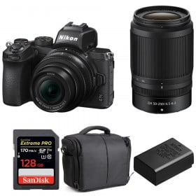 Nikon Z50 + 16-50mm + 50-250mm + SanDisk 128GB Extreme Pro UHS-I SDXC 170 MB/s + Nikon EN-EL25 + Bag | 2 Years Warranty