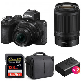 Nikon Z50 + 16-50mm + 50-250mm + SanDisk 128GB Extreme Pro UHS-I SDXC 170 MB/s + 2 Nikon EN-EL25 + Sac