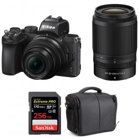 Nikon Z50 + 16-50mm + 50-250mm + SanDisk 256GB Extreme Pro UHS-I SDXC 170 MB/s + Bag | 2 Years Warranty