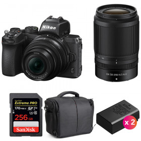 Nikon Z50 + 16-50mm + 50-250mm + SanDisk 256GB Extreme Pro UHS-I SDXC 170 MB/s + 2 Nikon EN-EL25 + Sac