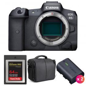 Canon EOS R5 Cuerpo + SanDisk 64GB Extreme PRO CFexpress Type B + 2 Canon LP-E6NH + Bolsa | 2 años de garantía