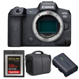 Canon EOS R5 Body + SanDisk 128GB Extreme PRO CFexpress Type B + Canon LP-E6NH + Bag   2 Years warranty