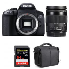 Canon EOS 850D + Sigma 18-200mm f/3.5-6.3 DC Macro OS HSM C + SanDisk 64GB UHS-I SDXC 170 MB/s + Bag | 2 Years Warranty