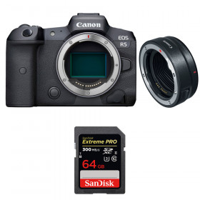 Canon EOS R5 + EF-EOS R + SanDisk 64GB Extreme PRO UHS-II SDXC 300 MB/s | 2 años de garantía
