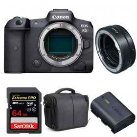 Canon EOS R5 + EF-EOS R + SanDisk 64GB Extreme PRO UHS-II SDXC 300 MB/s + Canon LP-E6NH + Sac