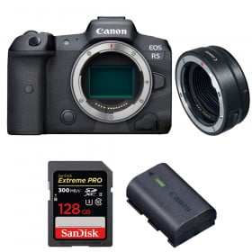 Canon EOS R5 + EF-EOS R + SanDisk 128GB Extreme PRO UHS-II SDXC 300 MB/s + Canon LP-E6NH