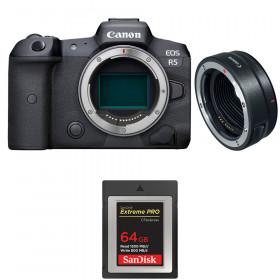 Canon EOS R5 + EF-EOS R + SanDisk 64GB Extreme PRO CFexpress Type B | 2 años de garantía
