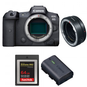 Canon EOS R5 + EF-EOS R + SanDisk 64GB Extreme PRO CFexpress Type B + Canon LP-E6NH | 2 Years warranty