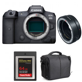 Canon EOS R5 + EF-EOS R + SanDisk 64GB Extreme PRO CFexpress Type B + Bag | 2 Years warranty