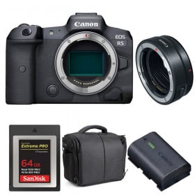 Canon EOS R5 + EF-EOS R + SanDisk 64GB Extreme PRO CFexpress Type B + Canon LP-E6NH + Bag | 2 Years warranty