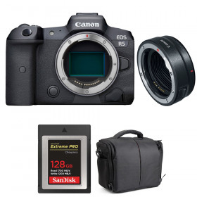 Canon EOS R5 + EF-EOS R + SanDisk 128GB Extreme PRO CFexpress Type B + Bag | 2 Years warranty