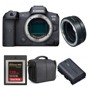 Canon EOS R5 + EF-EOS R + SanDisk 128GB Extreme PRO CFexpress Type B + Canon LP-E6NH + Bag | 2 Years warranty