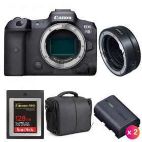 Canon EOS R5 + EF-EOS R + SanDisk 128GB Extreme PRO CFexpress Type B + 2 Canon LP-E6NH + Bag | 2 Years warranty
