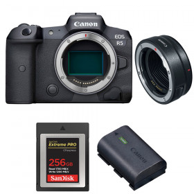 Canon EOS R5 + EF-EOS R + SanDisk 256GB Extreme PRO CFexpress Type B + Canon LP-E6NH | 2 Years warranty
