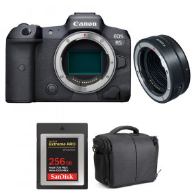 Canon EOS R5 + EF-EOS R + SanDisk 256GB Extreme PRO CFexpress Type B + Bag | 2 Years warranty