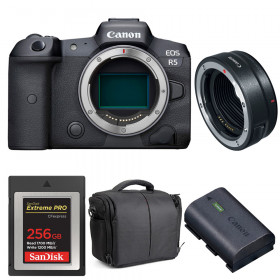 Canon EOS R5 + EF-EOS R + SanDisk 256GB Extreme PRO CFexpress Type B + Canon LP-E6NH + Bag | 2 Years warranty