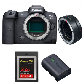 Canon EOS R5 + EF-EOS R + SanDisk 512GB Extreme PRO CFexpress Type B + Canon LP-E6NH | 2 Years warranty