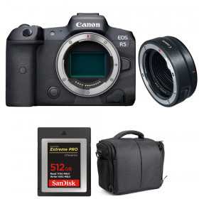 Canon EOS R5 + EF-EOS R + SanDisk 512GB Extreme PRO CFexpress Type B + Bag | 2 Years warranty