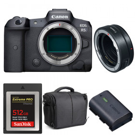 Canon EOS R5 + EF-EOS R + SanDisk 512GB Extreme PRO CFexpress Type B + Canon LP-E6NH + Bag | 2 Years warranty