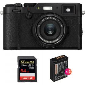 Fujifilm X100F Negro + SanDisk 64GB Extreme Pro UHS-I SDXC 170 MB/s + 2 Fujifilm NP-W126S | 2 años de garantía