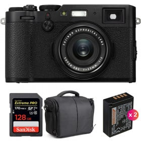 Fujifilm X100F Negro + SanDisk 128GB Extreme Pro UHS-I SDXC 170 MB/s + 2 Fujifilm NP-W126S + Bolsa