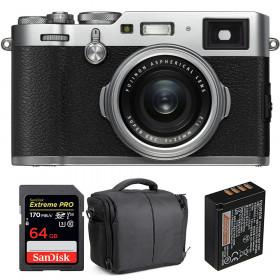 Fujifilm X100F Silver + SanDisk 64GB Extreme Pro UHS-I SDXC 170 MB/s + Fujifilm NP-W126S + Bolsa | 2 años de garantía