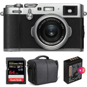 Fujifilm X100F Silver + SanDisk 64GB Extreme Pro UHS-I SDXC 170 MB/s + 2 Fujifilm NP-W126S + Bolsa | 2 años de garantía