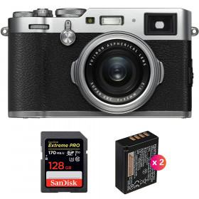 Fujifilm X100F Silver + SanDisk 128GB Extreme Pro UHS-I SDXC 170 MB/s + 2 Fujifilm NP-W126S   2 Years Warranty