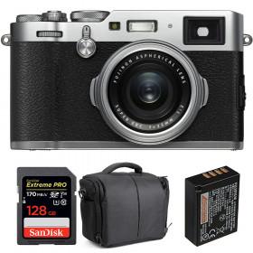 Fujifilm X100F Silver + SanDisk 128GB Extreme Pro UHS-I SDXC 170 MB/s + Fujifilm NP-W126S + Bolsa