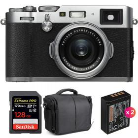 Fujifilm X100F Silver + SanDisk 128GB Extreme Pro UHS-I SDXC 170 MB/s + 2 Fujifilm NP-W126S + Bolsa | 2 años de garantía