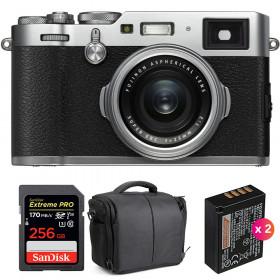 Fujifilm X100F Silver + SanDisk 256GB Extreme Pro UHS-I SDXC 170 MB/s + 2 Fujifilm NP-W126S + Bag   2 Years Warranty