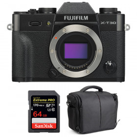 Fujifilm X-T30 Black + SanDisk 64GB Extreme Pro UHS-I SDXC 170 MB/s + Bag | 2 Years Warranty