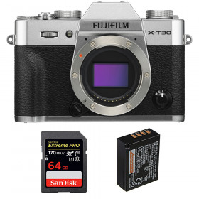 Fujifilm X-T30 Silver + SanDisk 64GB Extreme Pro UHS-I SDXC 170 MB/s + Fujifilm NP-W126S | 2 Years Warranty